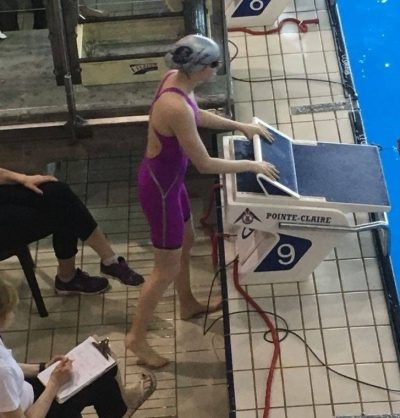 Beatrice at a swimming competition in Montreal